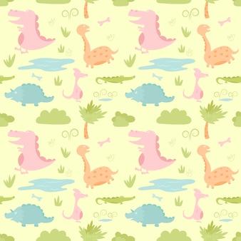 Nahtloses muster des netten karikaturdesigns der dinosaurier.