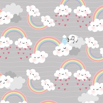 Nahtloses muster des netten karikaturgesichts-wolkenvektors