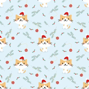 Nahtloses muster des netten katzen- und weihnachtselements.