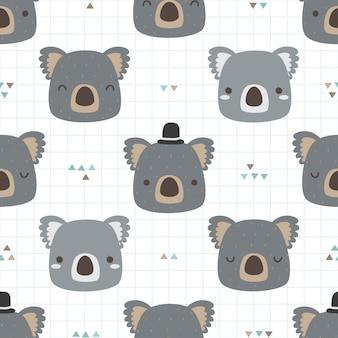 Nahtloses muster des netten koalakarikatur-gekritzels für kind