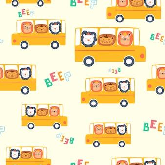 Nahtloses Muster des netten lächelnden glücklichen Löwes auf dem Bus. Kinder Stil