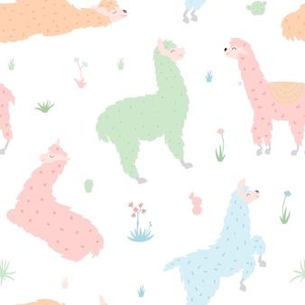 Nahtloses muster des netten lamavektors. isolierte cartoon-baby-lama. peru-tierguanako, alpaka, vikunja