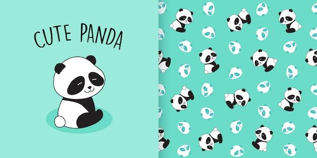 Nahtloses muster des netten pandas