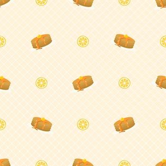 Nahtloses muster des netten pfannkuchens und der zitrone