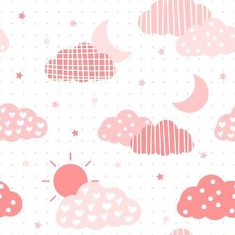 Nahtloses muster des netten rosa pastellhimmelkarikatur-gekritzels