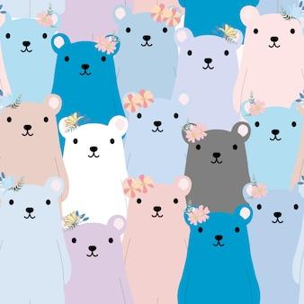 Nahtloses muster des netten teddybären