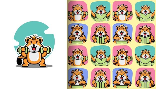 Nahtloses muster des netten tigers