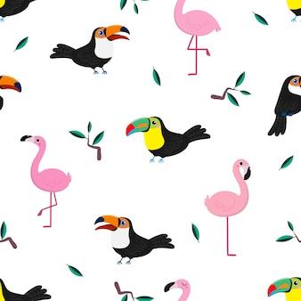 Nahtloses muster des netten tukans und des rosa flamingos