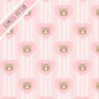 Nahtloses muster des niedlichen bären und des rosa herzens. handgezeichneter hase