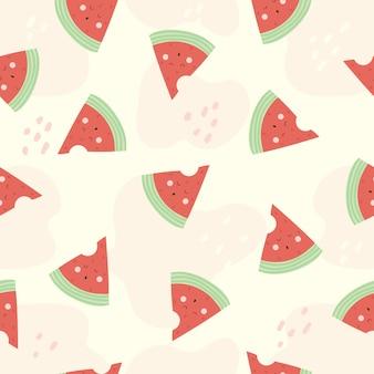 Nahtloses muster des niedlichen charakters der wassermelonenkarikatur lustig für kinder.