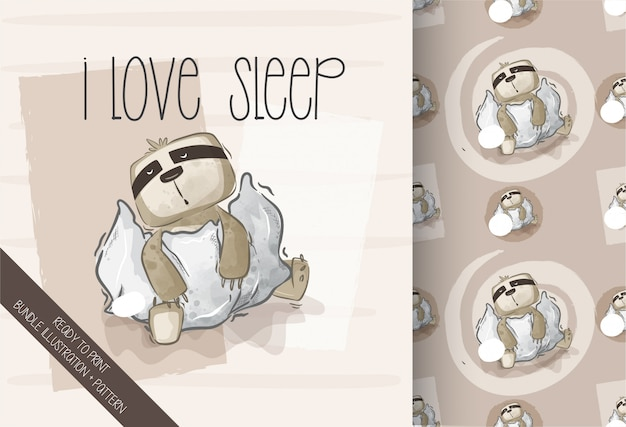 Nahtloses muster des niedlichen faultier-glücklichen schlafes der karikatur