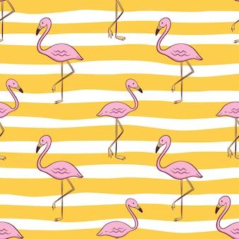 Nahtloses muster des niedlichen flamingos für sommerkonzept mit farbigem gekritzelstil