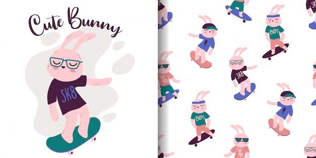 Nahtloses muster des niedlichen häschens mit illustrationskarikatur-babypartykarte