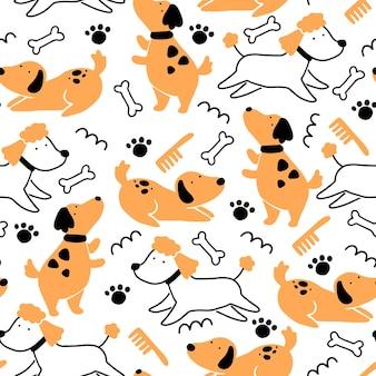 Nahtloses muster des niedlichen hundewelpen. karikatur lustiger und glücklicher hundecharakter mit einfachem formstil. illustration für hintergrund, tapete, textil, stoff.