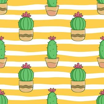 Nahtloses muster des niedlichen kaktus für sommerkonzept mit farbigem gekritzelstil
