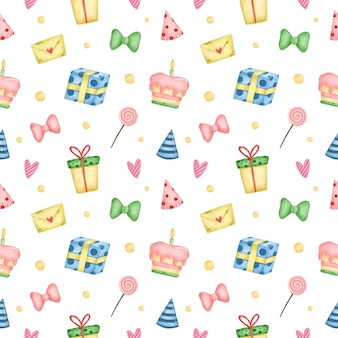 Nahtloses muster des niedlichen karikaturgeburtstags auf einem weißen hintergrund. geburtstagsfeier mit kuchen, geschenken, süßigkeiten und geburtstagshüten
