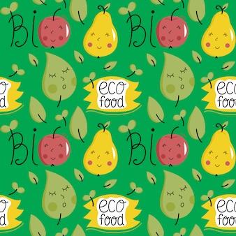 Nahtloses muster des öko-lebensmittels mit fruchtcharakteren