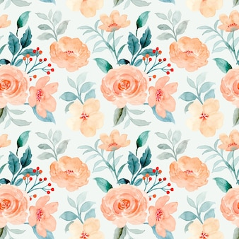 Nahtloses muster des orangefarbenen rosenblüten-aquarells
