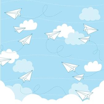 Nahtloses muster des papierflugzeug-vektors
