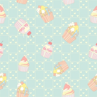 Nahtloses Muster des Pastellkleinen kuchens