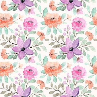 Nahtloses muster des pfirsich-, lila und rosa blumenaquarells