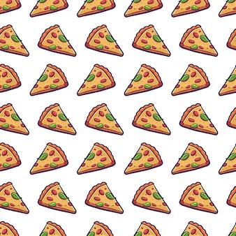 Nahtloses muster des pizzascheiben-vektors