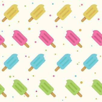 Nahtloses muster des popsicles in der flachen art