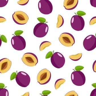 Nahtloses muster des purpurroten pflaumenillustrationsdesigns auf weißem hintergrund