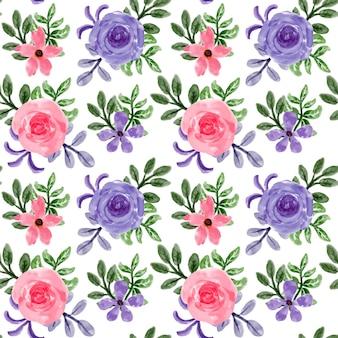 Nahtloses muster des purpurroten rosa blumenaquarells