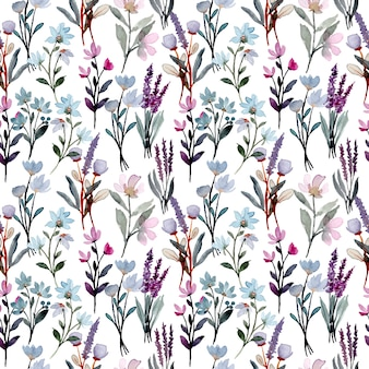 Nahtloses muster des purpurroten wilden blumenaquarells