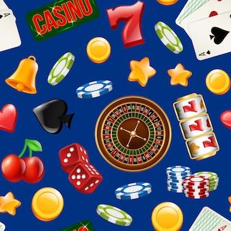 Nahtloses muster des realistischen kasinospiels des vektors