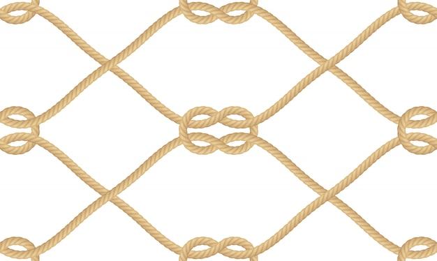 Nahtloses muster des realistischen nautischen seilknotens lokalisiert auf weiß. textur für druck- oder textilprodukte, geschenkpapier.