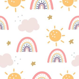 Nahtloses muster des regenbogens und der sterne auf lila hintergrund. skandinavischen stil