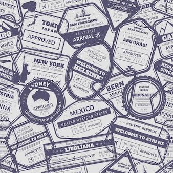 Nahtloses muster des reisestempels. vintage visa international angekommen briefmarken grenze. australien, usa und japan air boarder stempelrahmen grunge hintergrund