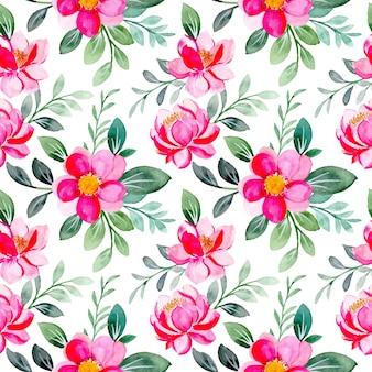 Nahtloses muster des rosa blumen- und grünblattaquarells
