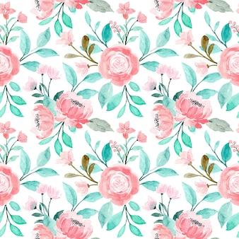 Nahtloses muster des rosa blumenaquarells mit grünen blättern