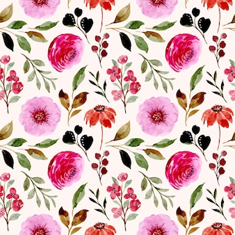 Nahtloses muster des rosa blumenaquarells
