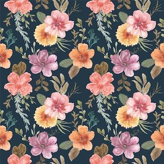 Nahtloses muster des rosa gelben blumenaquarells