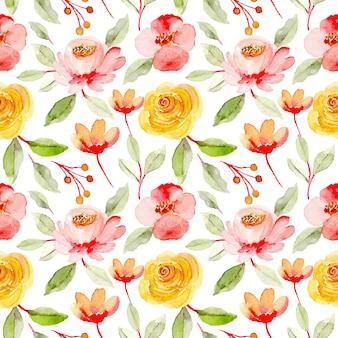 Nahtloses muster des rosa gelben blumenaquarells Premium Vektoren