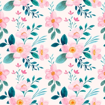 Nahtloses muster des rosa grünen blumenaquarells