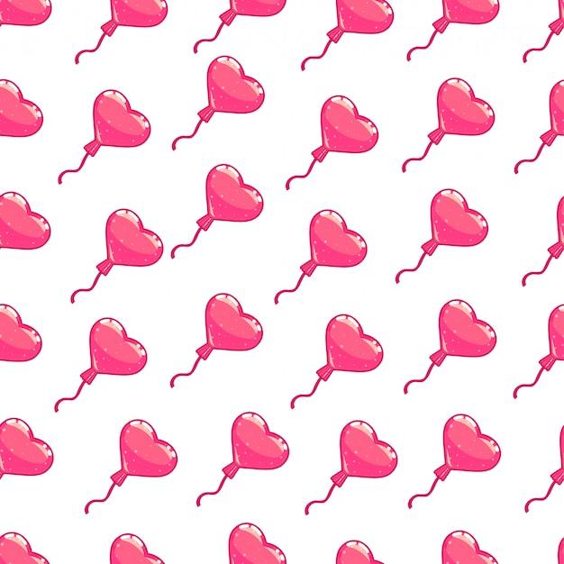 Nahtloses muster des rosa herzballons