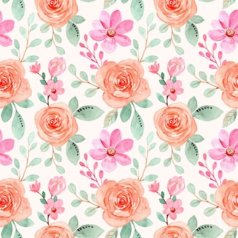 Nahtloses muster des rosa orangefarbenen blumenaquarells Premium Vektoren