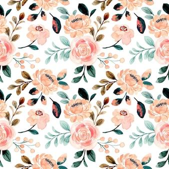 Nahtloses muster des rosa pfirsichblumenaquarells