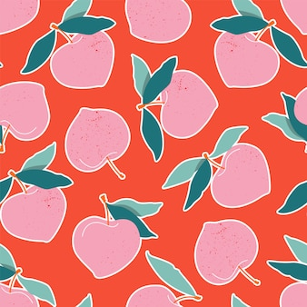 Nahtloses muster des rosa pfirsichs.