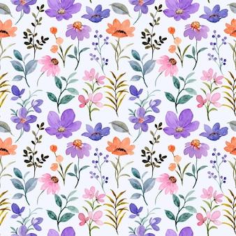 Nahtloses muster des rosa violetten wildblumen-aquarells
