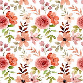 Nahtloses muster des rosafarbenen blumenaquarells