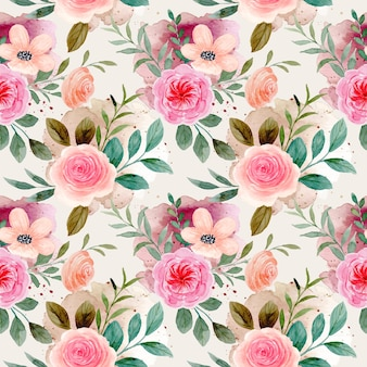 Nahtloses muster des rosenblumenaquarells mit spritzerflecken