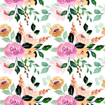 Nahtloses muster des rosenblumenaquarells