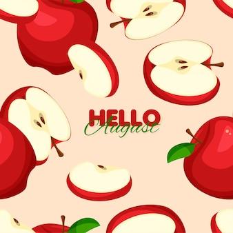 Nahtloses muster des roten apfels sommer