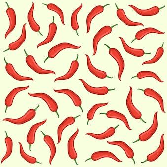 Nahtloses muster des roten chilis handgezeichneten vektors, nahtloses musterdesign des roten chilis